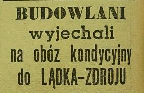 """Obóz kondycyjny """"Budowlanych"""" w Lądku Zdroju (1958)"""