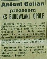 Antoni Golian prezesem Budowlanych Opole (1958)