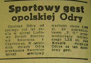 """Sportowy gest """"Odry"""" Opole wobec """"Swornicy"""" Czarnowąsy"""