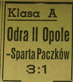 Odra II Opole - Sparta Paczków 3:1 (1961)