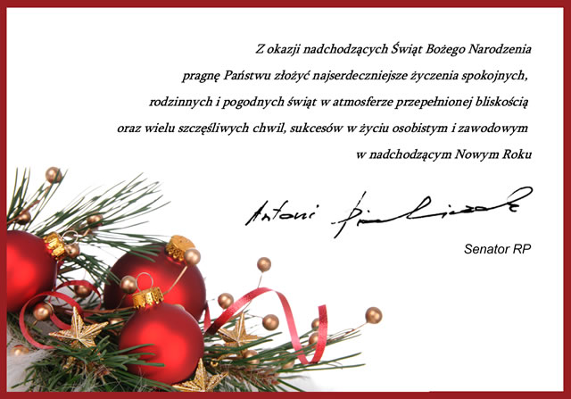 Życzenia świąteczne przesłane przez Antoniego Piechniczka