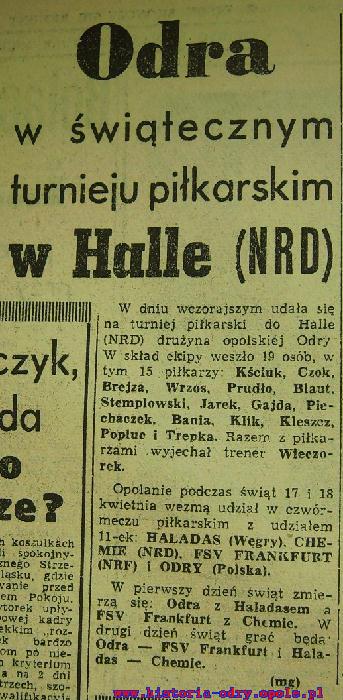 Informacja o turnieju w Trybunie Opolskiej