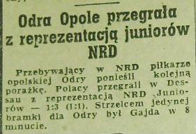 Reprezentacja NRD juniorzy - Odra Opole 3:1 (1:1)