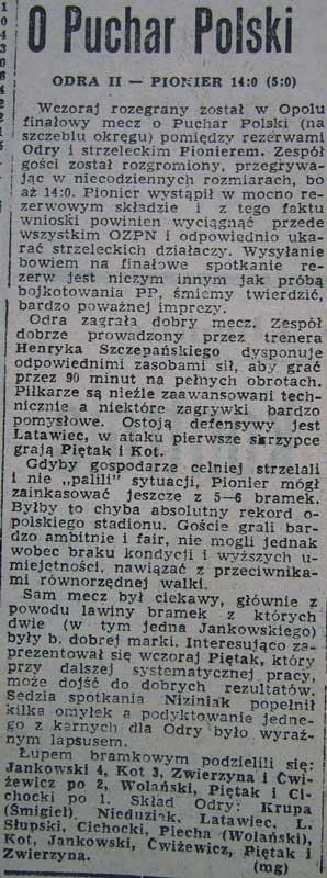 Najwyższe zwycięstwo rezerwy Odry w historii klubu !