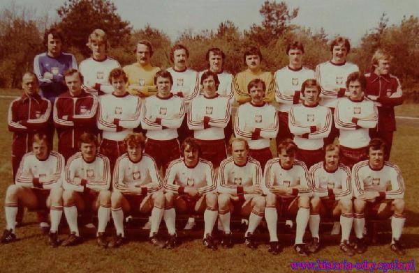 R.Wójcicki w reprezentacji Polski 1978 r. - 8 opd lewej w górnym rzędzie obok trenera Gmocha