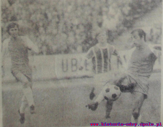 Józef Klose w meczu PP Odra-Ruch 1974. (1-0)
