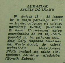 Informacja z Trybuny Opolskiej o powołaniu Łukasiaka  do kadry na turniej w Iraku