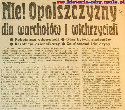Artykuł z Trybuny Opolskiej z 17.III.1968 r.