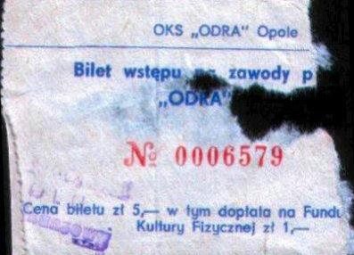 Bilet z meczu Odra-Lech