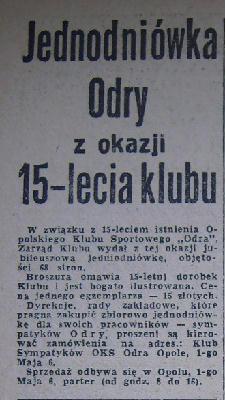Pierwsza książka o klubie wydana przez Prezydium Zarządu Odry