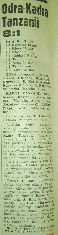 Odra - Kadra Tanzanii 8:1 (Trybunya Opolska)