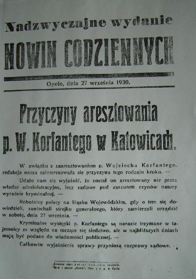 Ulotki przygotowane przez opolski konsulat w związku z aresztowaniem Wojciecha Korfantego