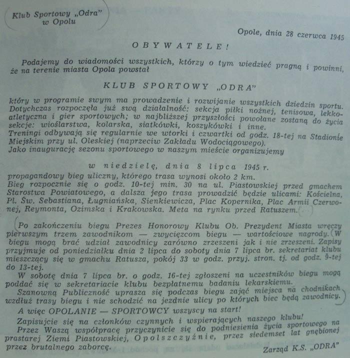 Afisz informujący o powstaniu klubu Odra Opole