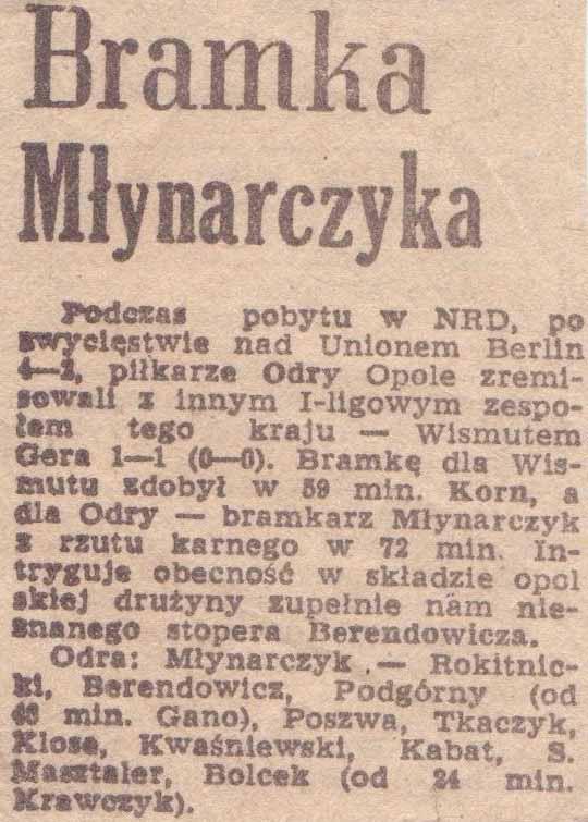 Bramka Józefa Młynarzyka podczas tournee w NRD.
