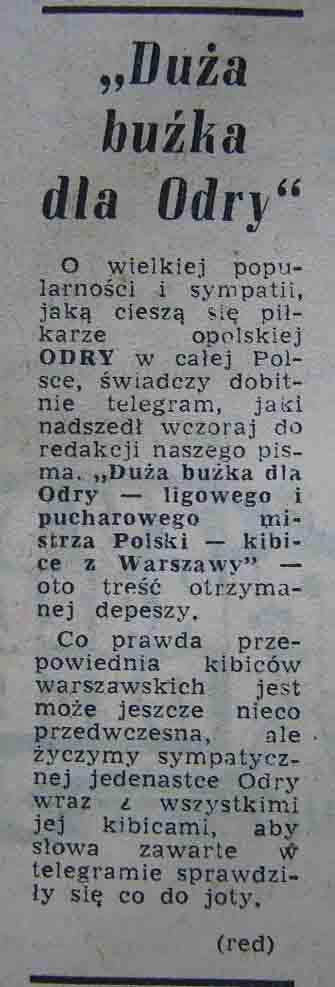 """Pozdrowienia dla """"Odry"""" Opole (1962)"""