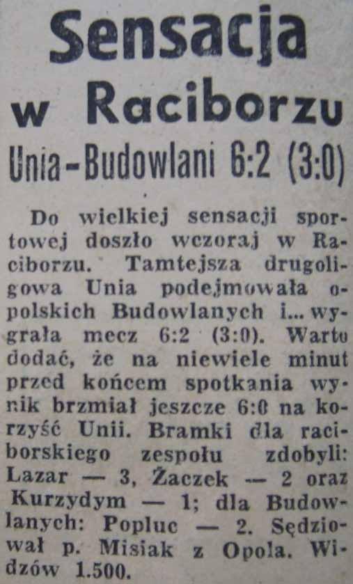 """Klęska """"Budowlanych"""" w Raciborzu (1958)"""