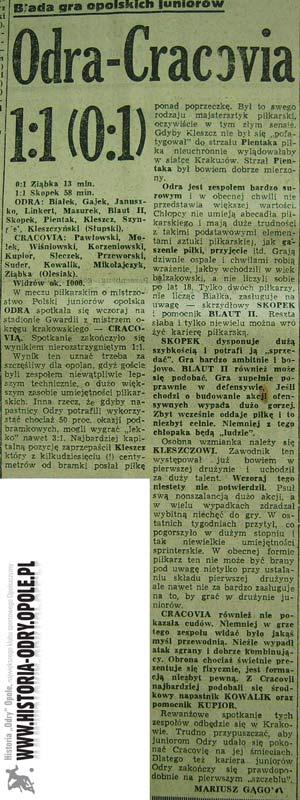 Relacja z meczu Odra-Cracovia w Trybunie Opolskiej (1960)