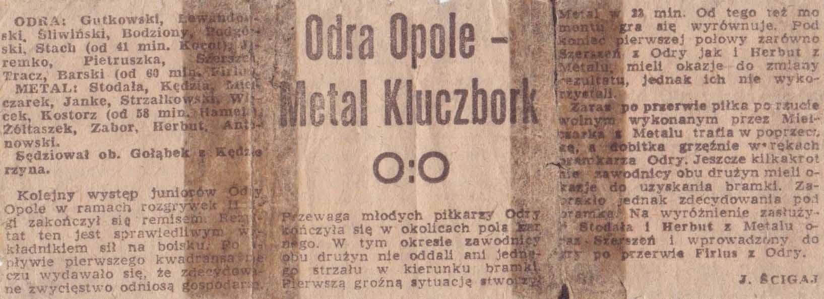Relacja ze spotkania Odra Opole - Metal Kluczbork (0:0, juniorzy)