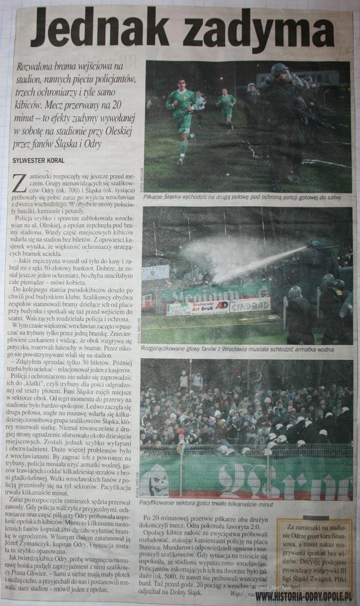 Zadyma na Oleskiej między kibicami Odry i Śląska Wrocław