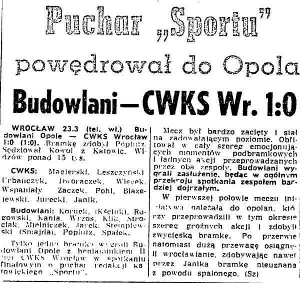 """Puchar """"Sportu"""" pierwszą wielką zdobyczą naszego klubu!"""