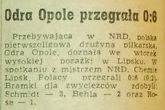 Wysoka poażka Odry z mistrzem NRD - Chemie Lipsk