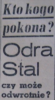 """Zapowiedź spotkania ligowego """"Stal"""" Sosnowiec - """"Odra"""" Opole (Sezon 1960)"""