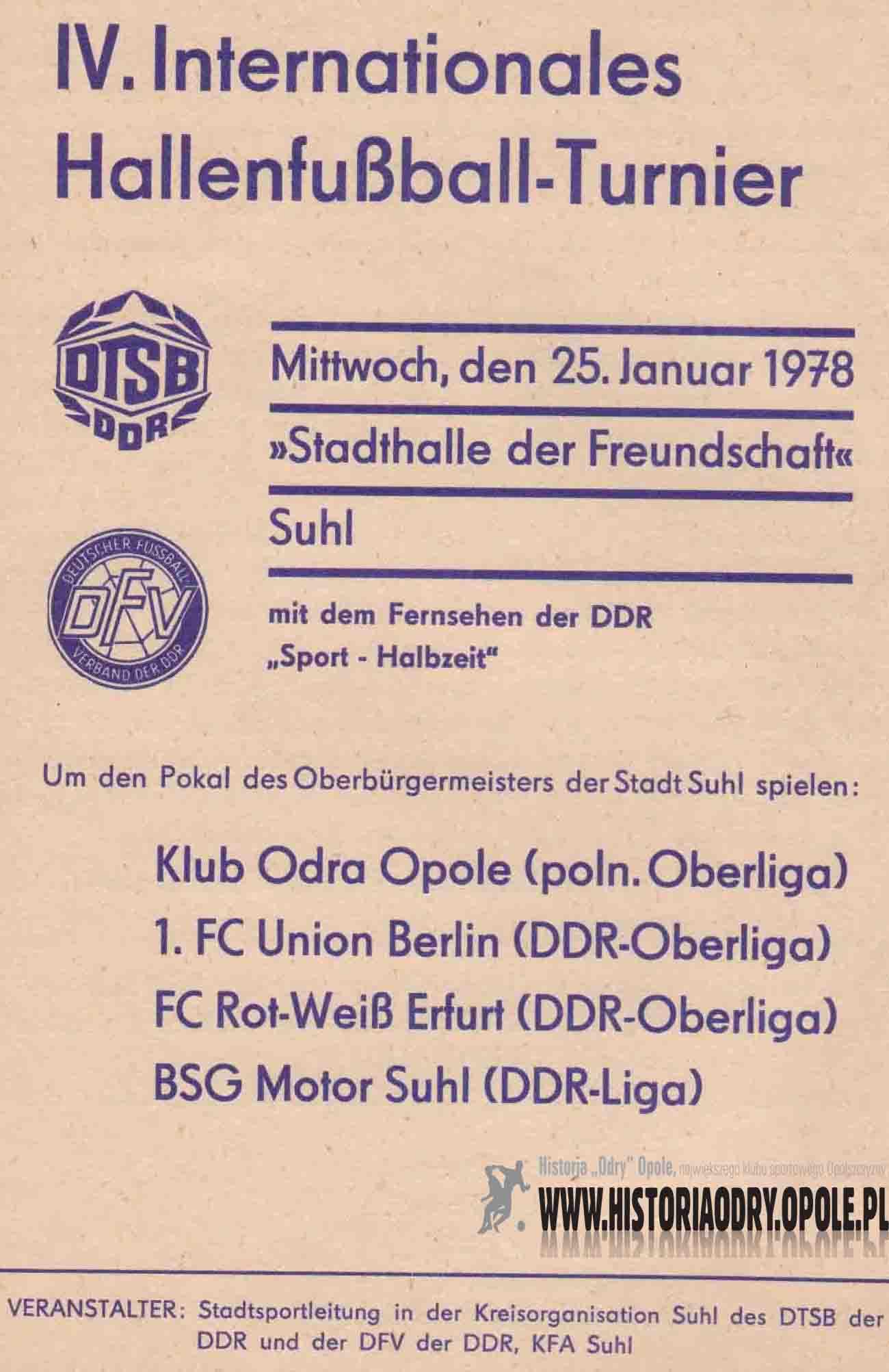 Turniej piłki nożnej halowej w Suhl.
