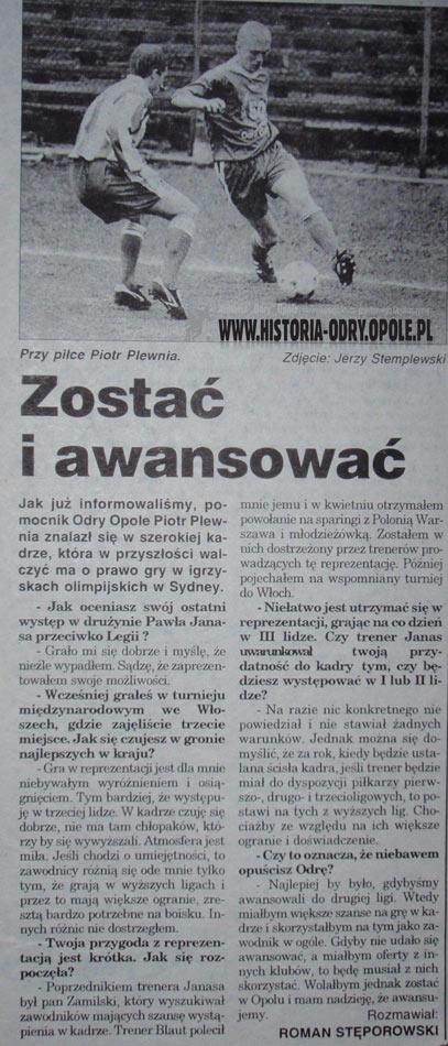 Poitr Plewnia o swoim występie w olimpijskiej reprezentacji Polski