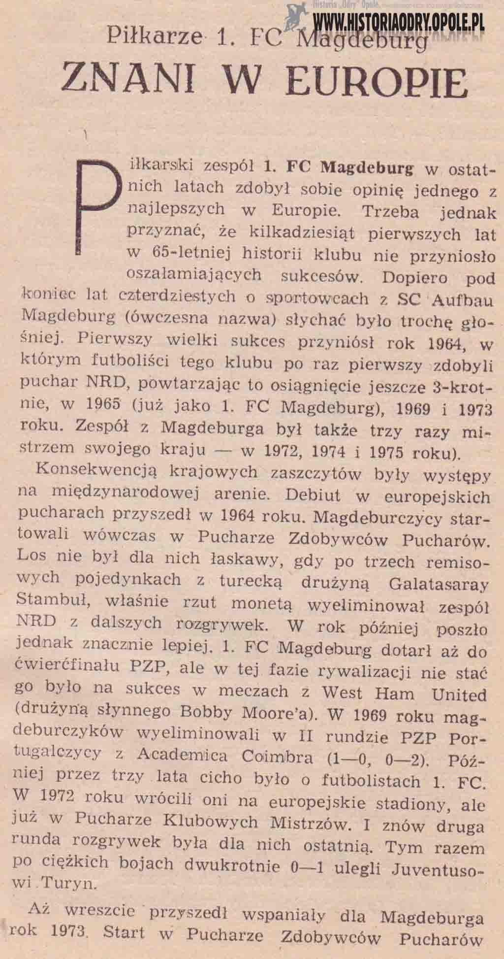 1. FC Magdeburg (broszurka 1).