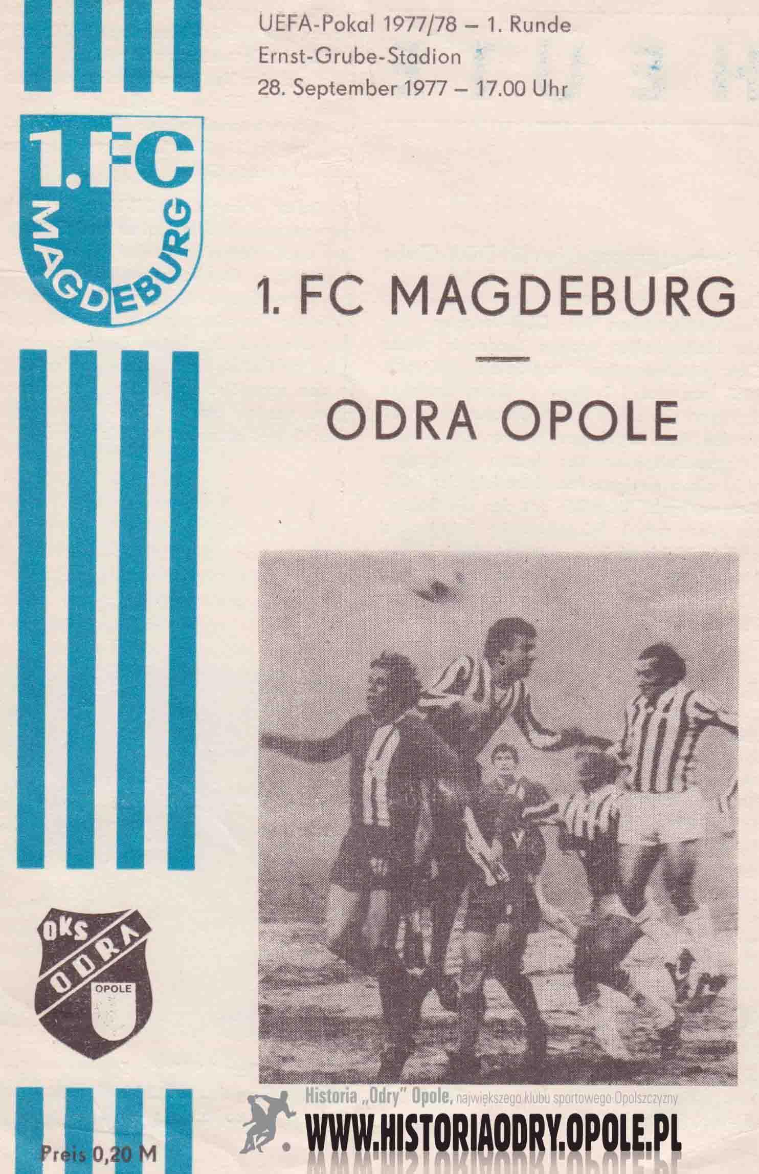 Niezbędnik kibica ze spotkania pucharowego 1. FC Magdeburg - Odra Opole (okładka).