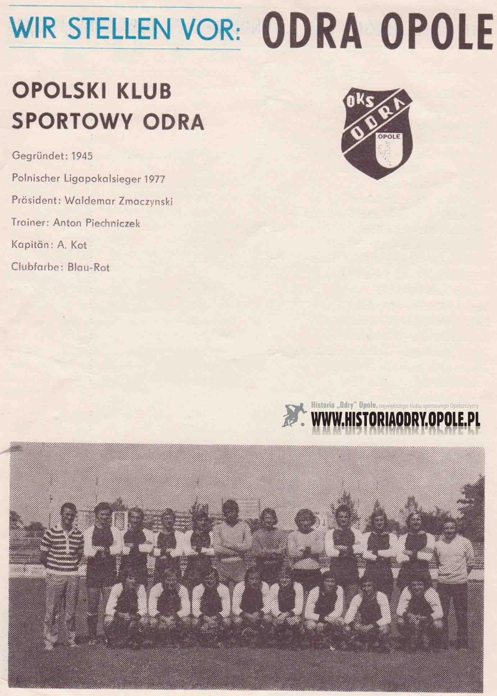 Niezbędnik kibica ze spotkania pucharowego 1. FC Magdeburg - Odra Opole (strona 2).