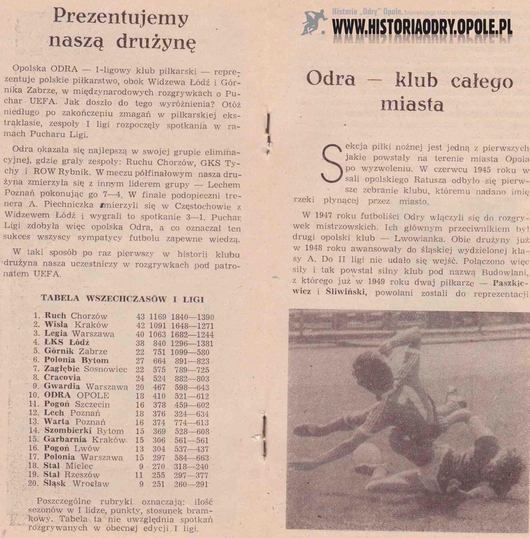 Odra Opole - 1. FC Magdeburg (broszurka 1).