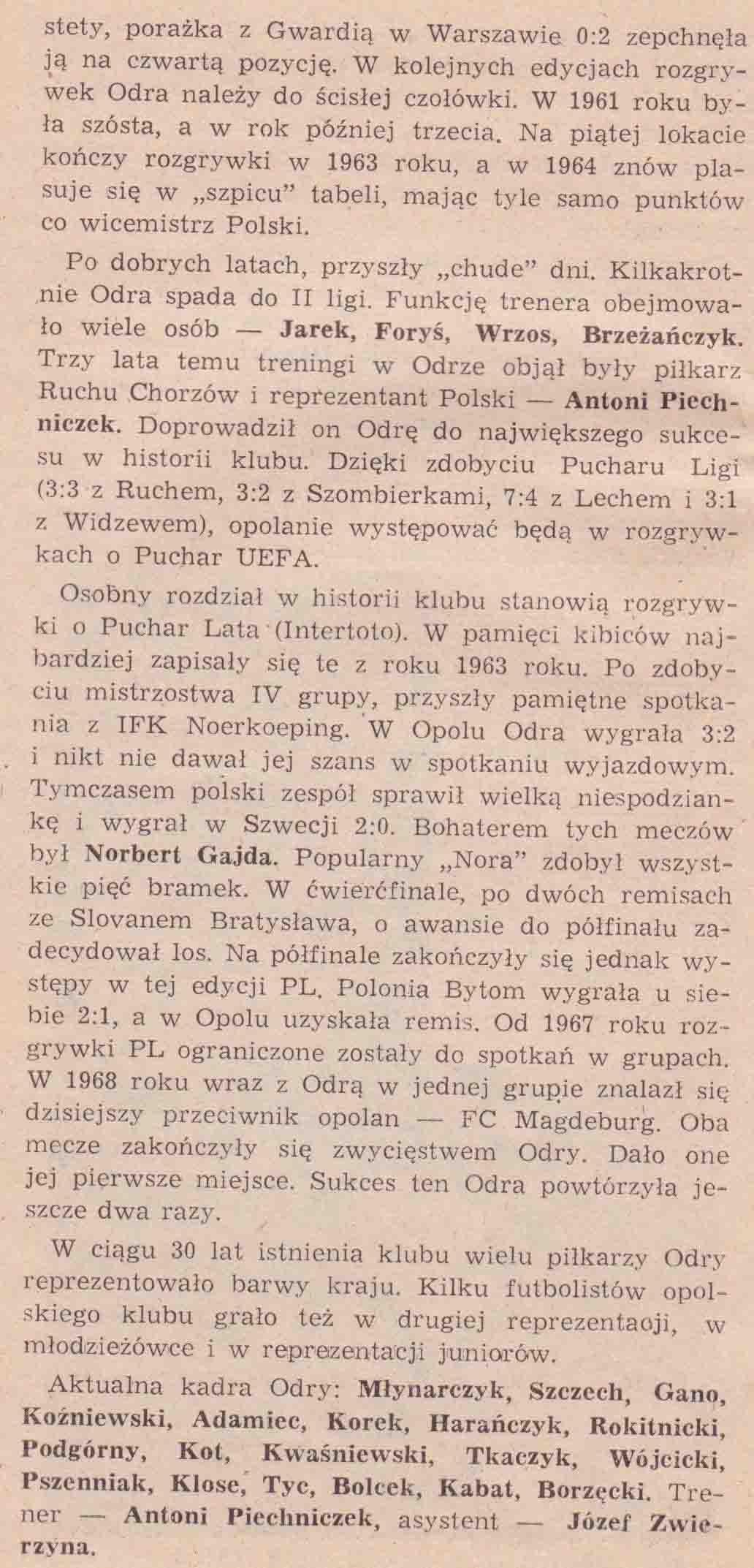 Odra Opole - 1. FC Magdeburg (broszurka 3).