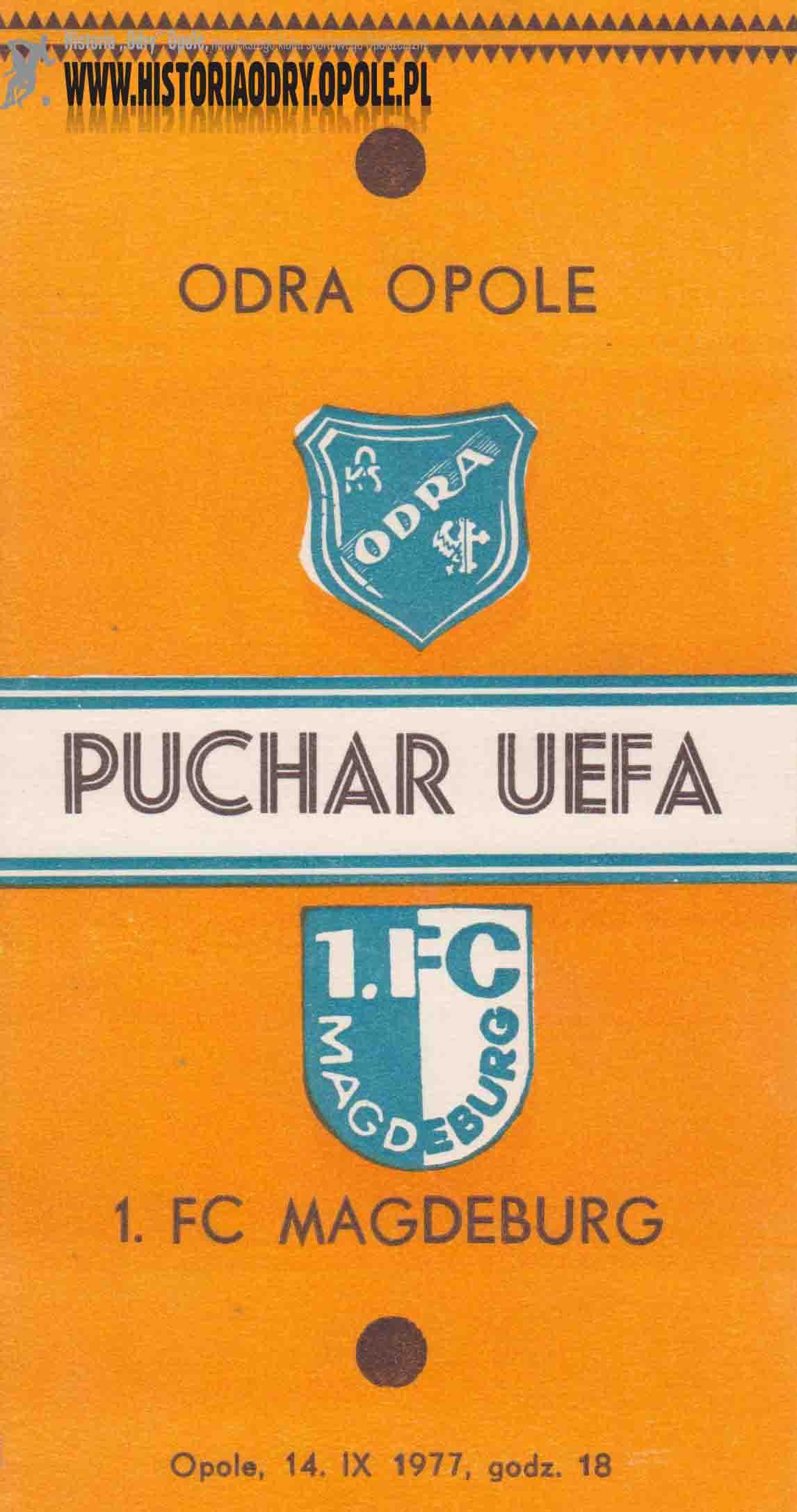 Strona tytułowa broszurki z debiutu Odry Opole w Pucharze UEFA.