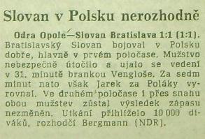 ''Odra'' - ''Slovan'' w prasie czechosłowackiej (1961)