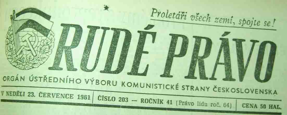 ''Rude Pravo'' (spotkanie ''Slovan'' - ''Odra'' 8;1, 1961)