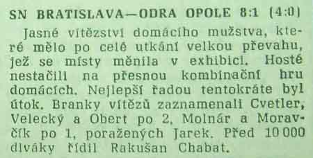''Slovan'' - ''Odra'' 8:1 (Puchar Karla Rappana, 1961)