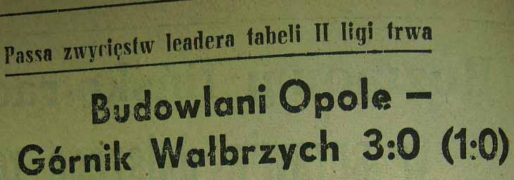 Ze spotkania Budowlani Opole - Górnik Wałbrzych (3:0, Sezon 1955).