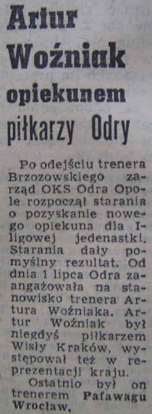 Artur Woźniak szkoleniowcem Odry Opole (1962).