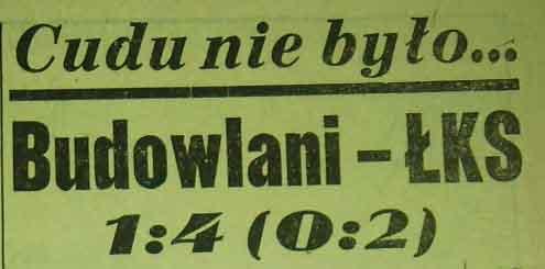 """Porażka """"Budowlanych"""" z """"ŁKS""""-em ( 17. kolejka: Sezon 1958)"""