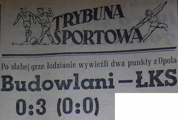 Budowlani - �KS 0:3 (Sezon 1956).