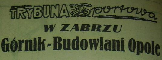 Górnik - Budowlani 1:1 (1956).