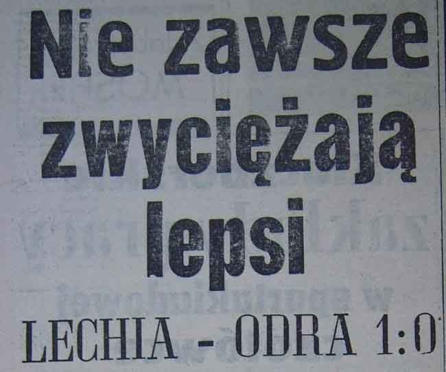 Ze spotkania Lechia Gdańsk - Odra Opole (1:0, Sezon 1962).