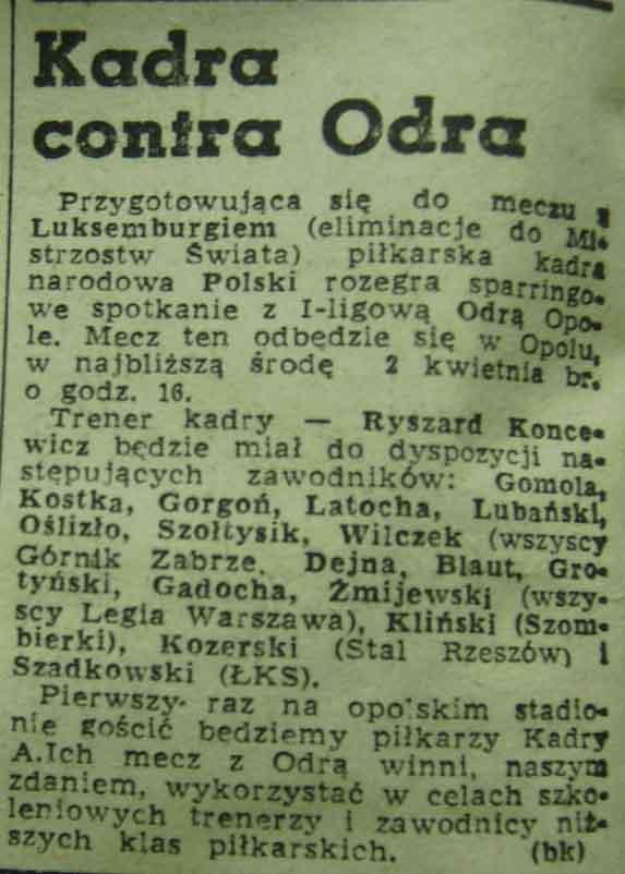 Zapowiedź towarzyskiej potyczki Odra - Kadra Polski (1969).