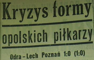 Ze spotkania Odra Opole - Lech Poznań (1:0, Sezon 1962).