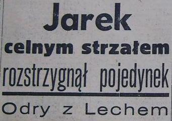 """Zwycistwo """"Odry"""" Opole nad """"Lechem"""" Poznań (1;0, Sezon 1959)"""