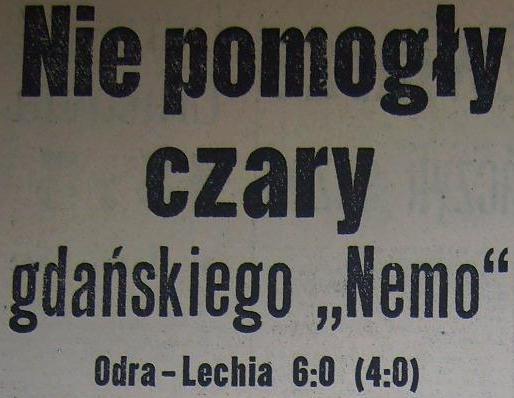 Ze spotkania Odra Opole - Lechia Gdańsk (6:0, Sezon 1962).