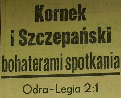 Ze spotkania Odra Opole - Legia Warszawa (Sezon 1961; 2:1).