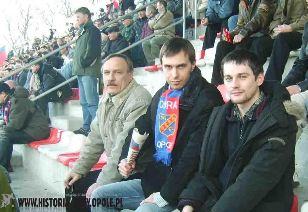 "Redakcja ""HO"" podczas spotkania ""Odra"" - ""Polonia"" (15.03.2008)"