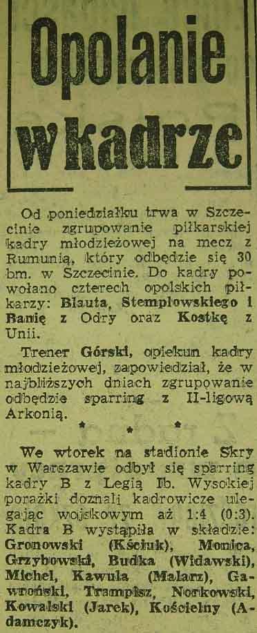 Opolanie w kadrze narodowej (1959)